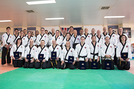 On Sunday 17 April, a new group of Hap Ki Do and Sun Do students were awarded their black belts by Grand Master Kimm in a memorable ceremony attended by around 200 people at the Do-Jang in Coburg. Congratulations to our new Black Belts! It was a great community celebration of our club and our work for the Universal Peace Movement.